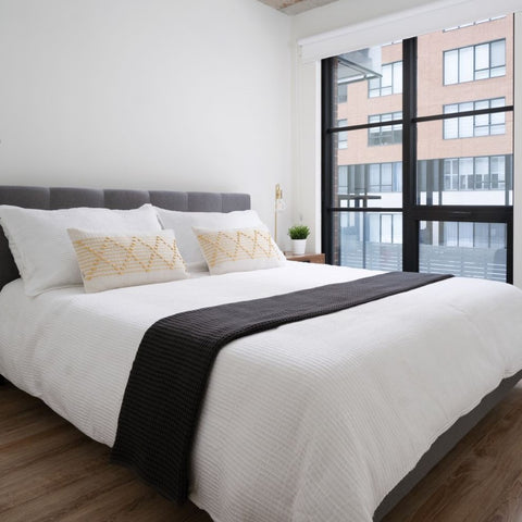 modern contemporary gray and white bedroom