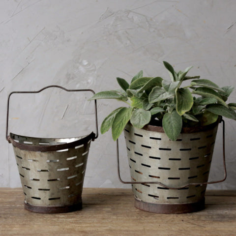 Metal Olive Buckets with Handle