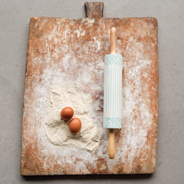 Hand-Painted Rolling Pin with Bamboo Handles