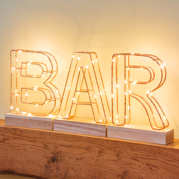 Light Up Letter Wire Frame BAR Sign - Lumiletters
