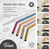 Metal Straws Tones Colours (Set of 4) - Lumiletters