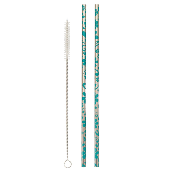 Metal Straws Floral (Set of 2) - Lumiletters
