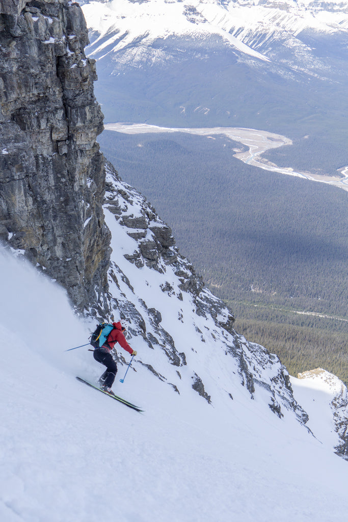 Matt Ruta skiing down the Mega Couloir on Mount Murchison