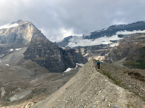 Jason Borro from Skimo.co hiking to the Plains of the Six Glaciers