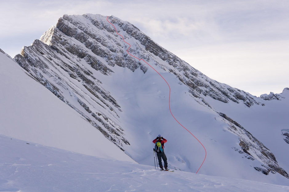 Skiing NW Face Direct Mt Sir Douglas Kananaskis