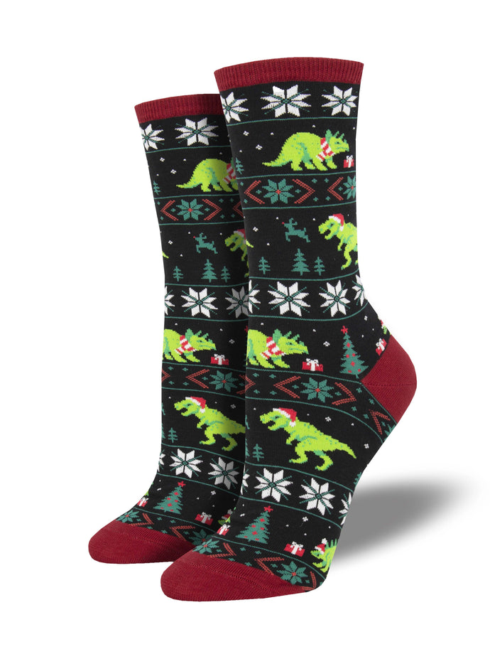 Ladies Santasaurus Rex Graphic Socks