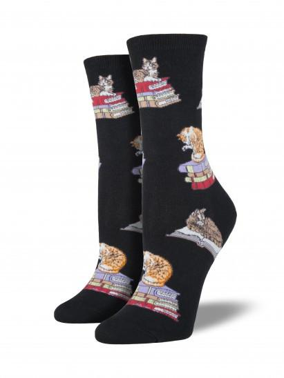 Ladies Cats On Books Graphic Socks
