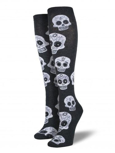 Ladies Big Muertos Skull Knee High Socks