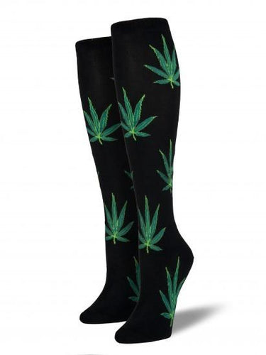 Ladies Pot Leaf Knee High Socks