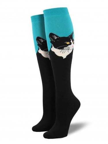 Ladies Cat Portrait Knee High Socks