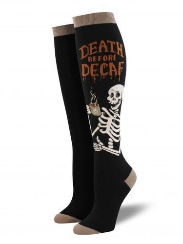Ladies Death Before Decaf Knee High Socks