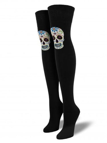 Ladies Muertos Skull Over The Knee Socks