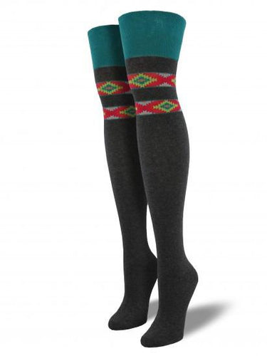 Ladies Aztec Over The Knee Socks