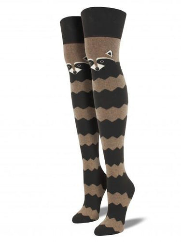 Ladies Raccoon Over The Knee Socks