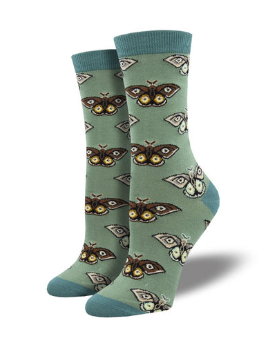 Ladies Bamboo Vintage Moths Socks