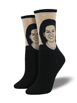 Ladies Michelle Obama Portrait Socks