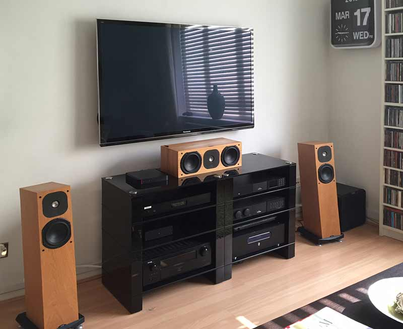 A  pair of Black Gloss HiFi Stands, four shelf STAX 400 by BLOK