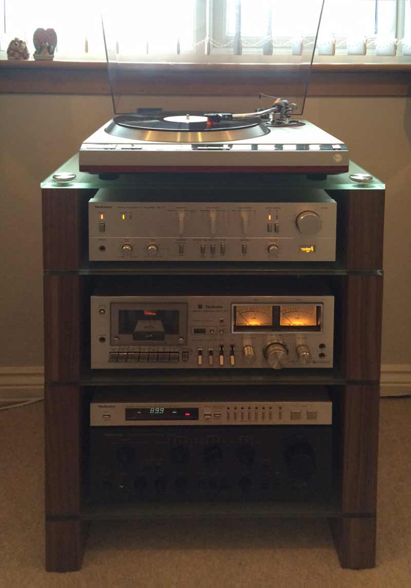 HiFi Stand in Walnut with Etched Glass Shelves and Technics Vintage Separates, BLOK STAX