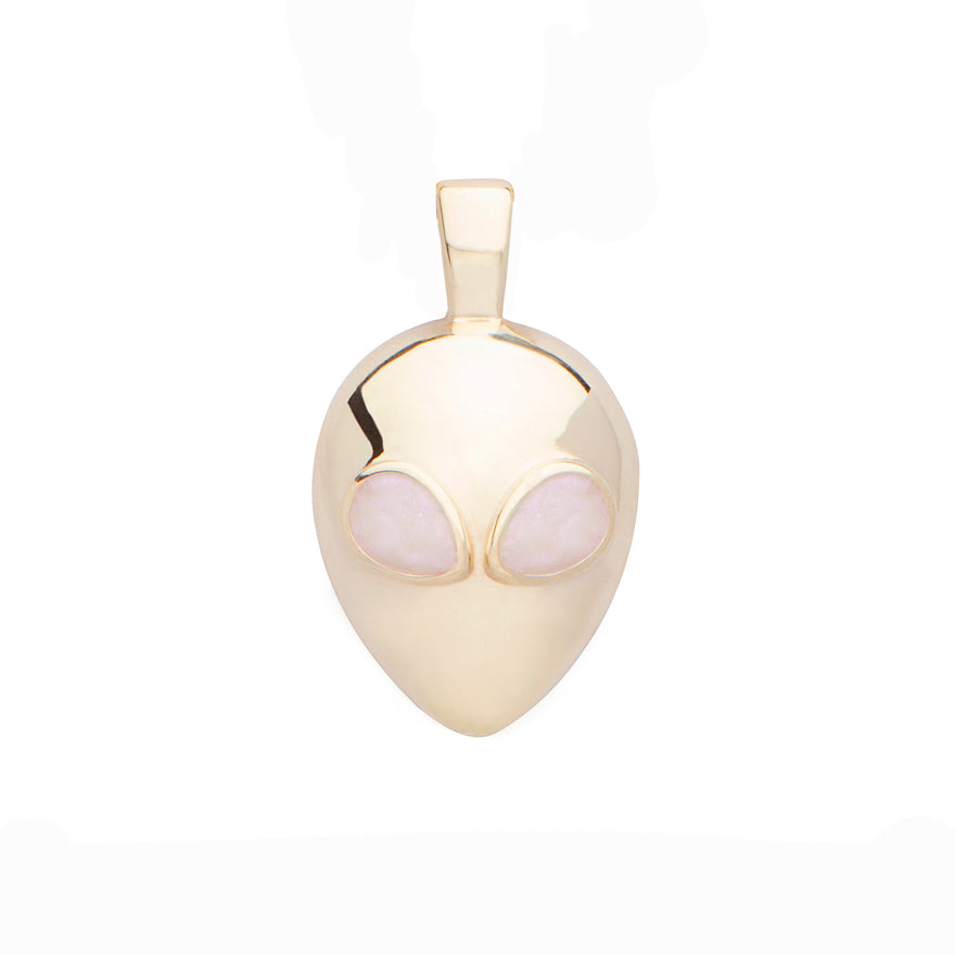 Yellow Gold-Pearl White Enamel