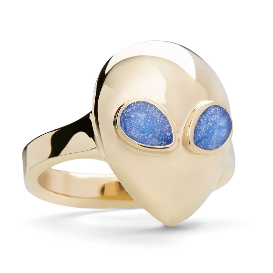 Yellow Gold-Blue Enamel