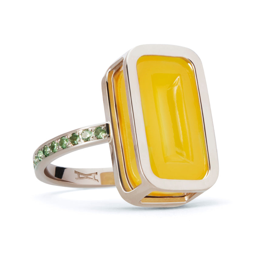 Yellow Gold-Yellow Agate