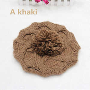 100% Wool Knitted Gorras Planas Winter Beret Hat