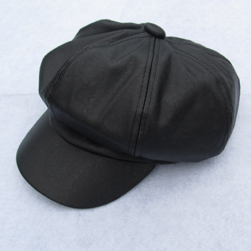 Leather- Fur-Wool Visor Cap