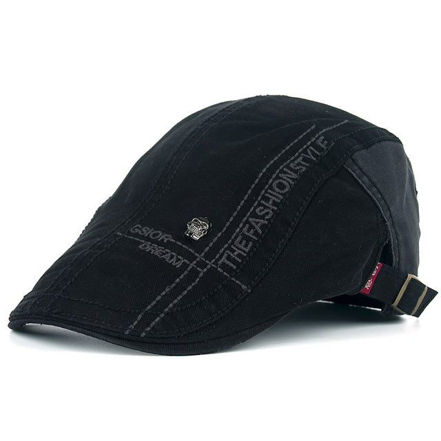Casual Peaked Cotton Beret Caps for Men