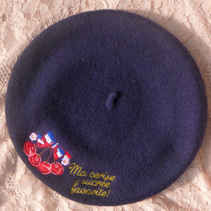 Lolita College Style Embroidery Wool Beret