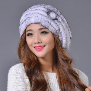 Valpeak French Real Knitted Rabbit Fur Beret