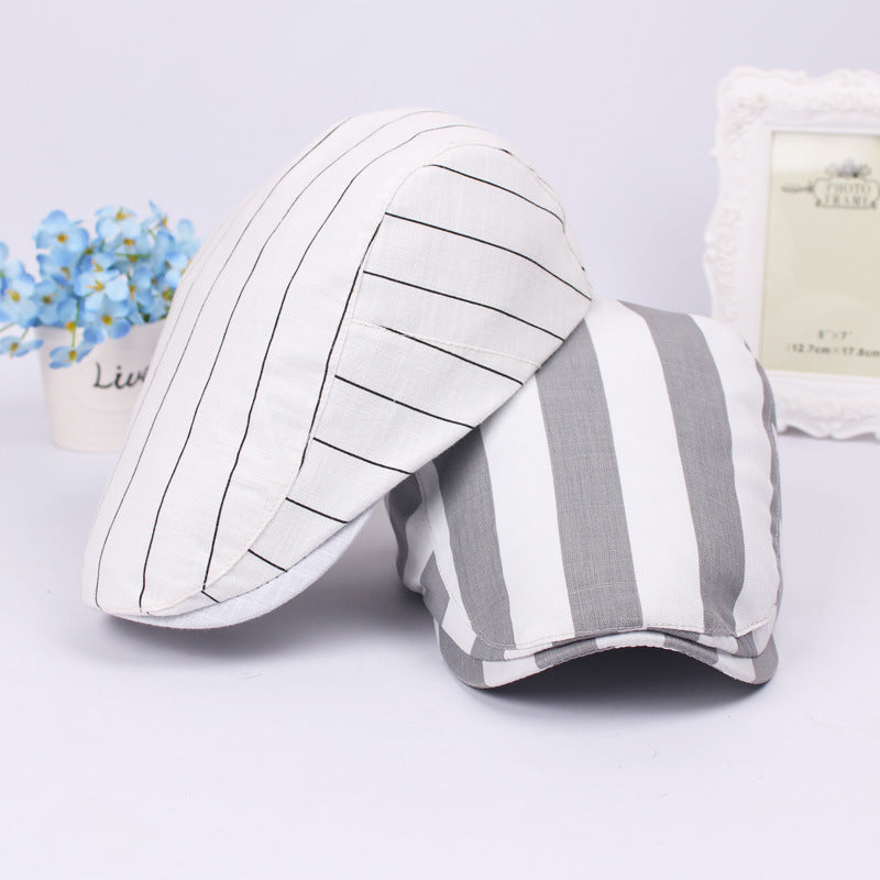 Holiday Jaunty Beret Caps with Pinstripes - Retro Fashion