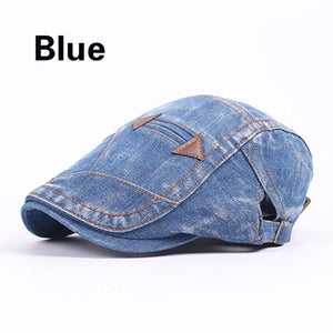 Embroidered Denim Cowboy Fashion Berets for Women