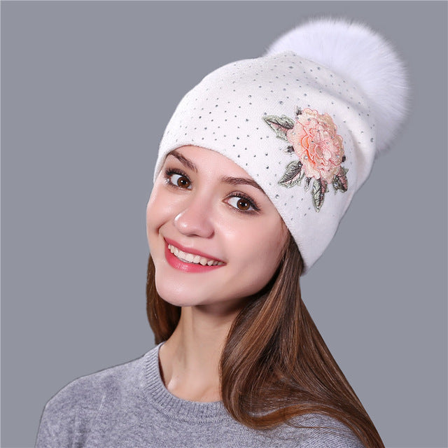 Warm Wool-Fur Beret Hat with Pom Pom