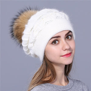 Winter Beanie Faux Rabbit Fur Cap