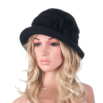 New Gatsby style Floral Wool Cloche Bucket Beret