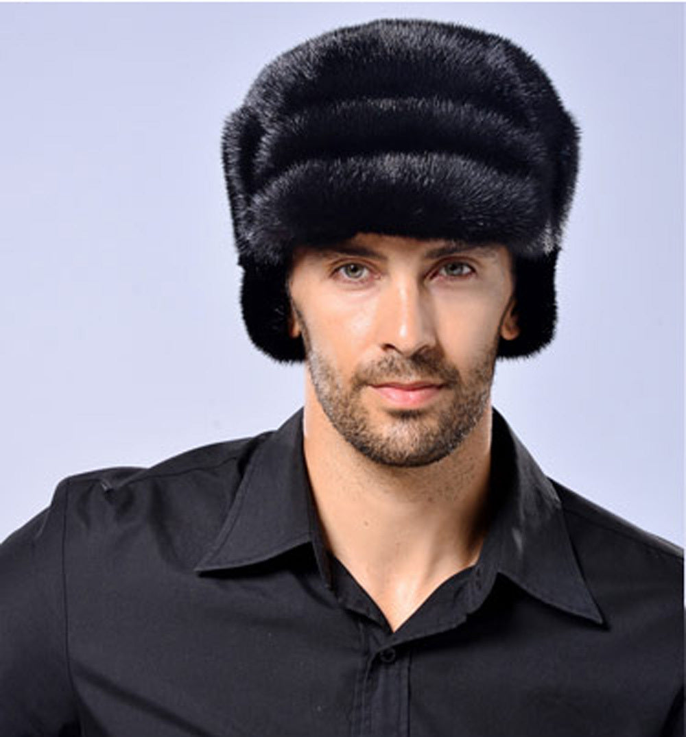 Genuine Black Mink Fur Pelt Top Berets for Men