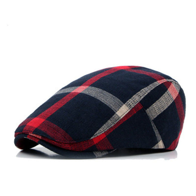 Peaked Unisex Beret Hats in Plaid Design - 1900s Vintage Fashion