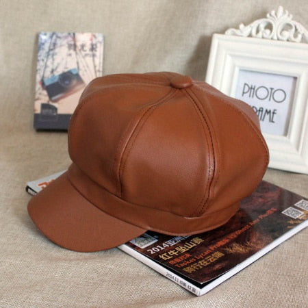 Vintage Faux Leather Unisex Beret Hat