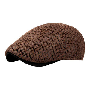 Retro Cabbie Newsboy Caps with Mesh Pattern - Winter Vintage
