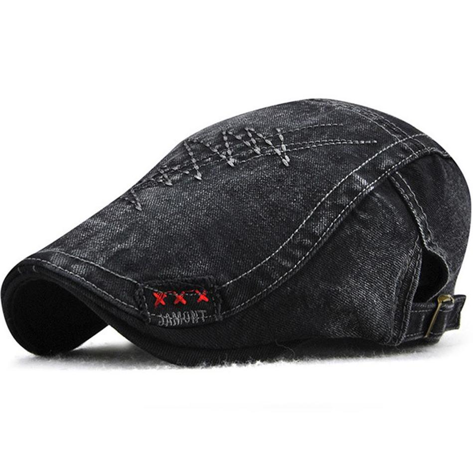 Rugged Denim Beret Hats With Sewn Pattern for This Winter