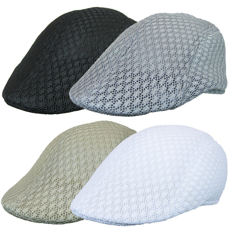 Men's Solid Mesh Cabbie Newsboy Berets