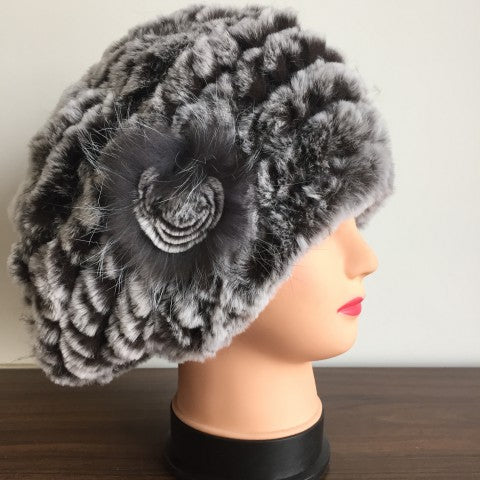 Winter Real Fur Thermal Casual Beret Hat