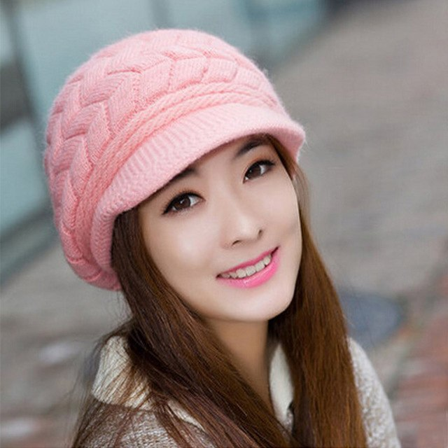 Cute Princess Winter Rabbit Fur Knitted Beret Hat