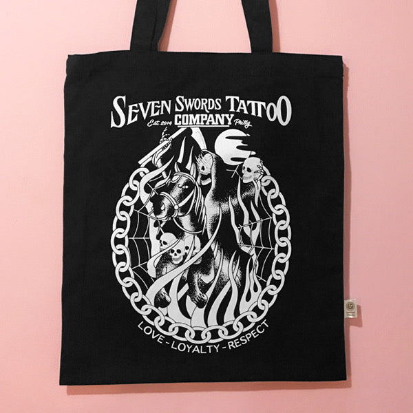 Seven Swords Tattoo Company Tote Bags