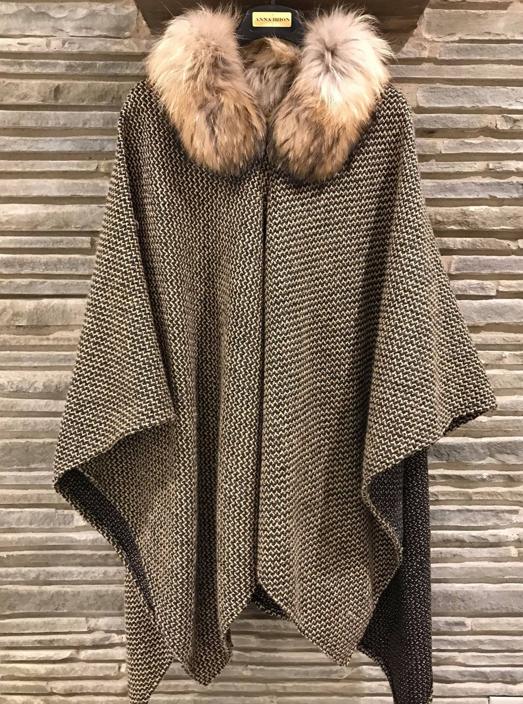 Loro Camel and Medium Charcoal 100% Italian Cashmere Wrap  with Finland Raccoon Natural Fur