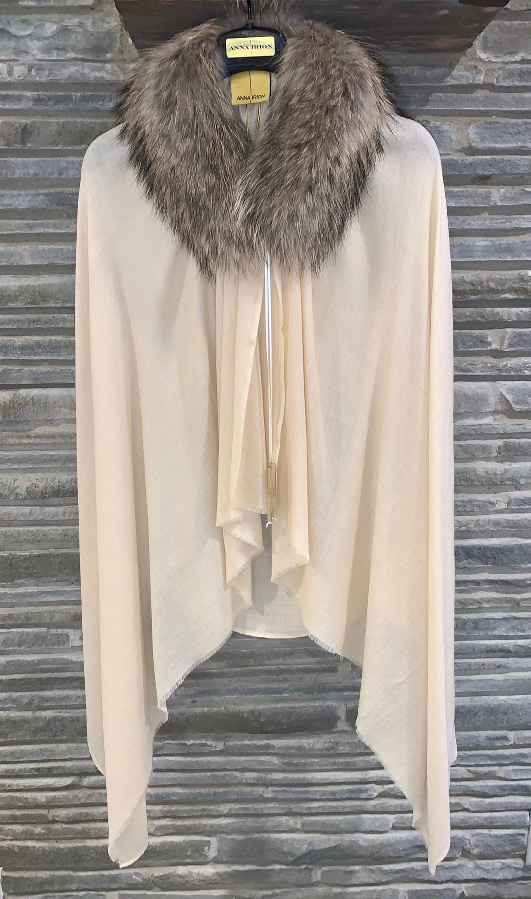 ANNA Baby 100% Cashmere Cream Shawl with Finland Racoon Fur Collar