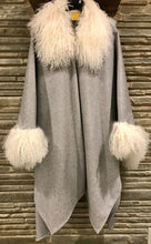 Loro 100% Italian Cashmere Grey Cape with long curly White Mongolian Lamb