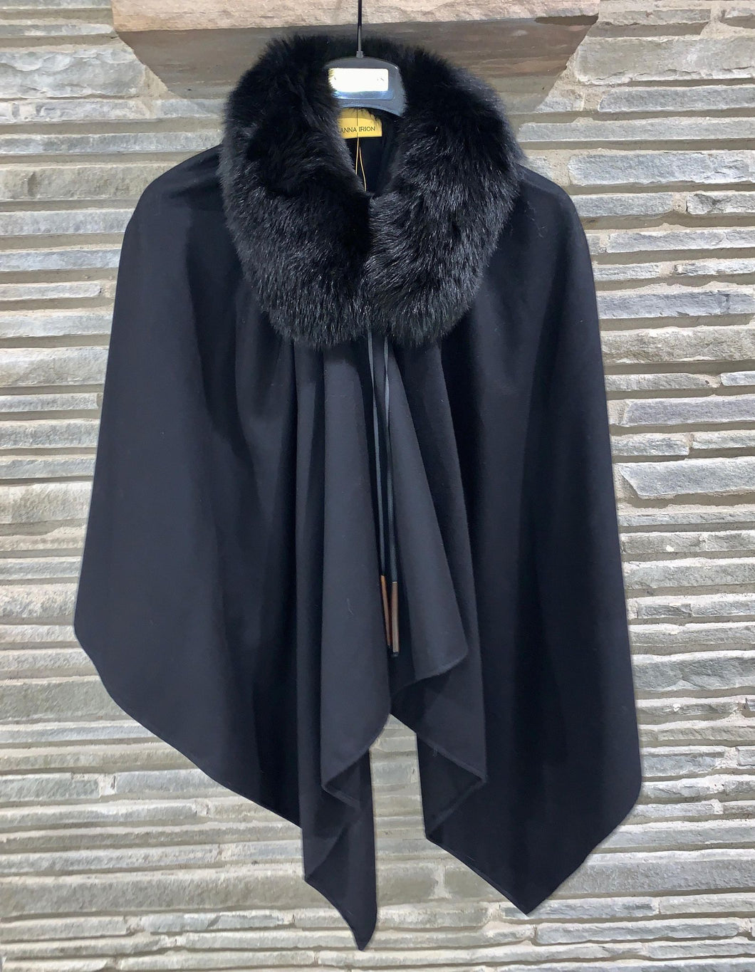 Loro Piana 100% Baby Cashmere Black Shawl with Blue Fox Dyed Black