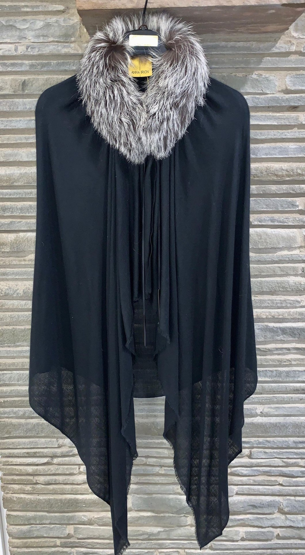 ANNA Baby 100% Cashmere Black Shawl with Silver Fox Natural Undyed