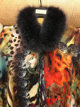 ANNA Baby 100% Cashmere Dolce Flower/Leopard print Cashmere Shawl with Slate Grey Dyed Blue Fox and Horn needle beads